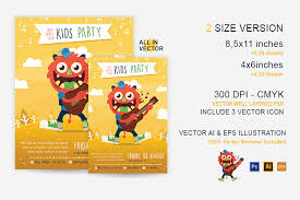 party kid illustrated flyer template by design bundles