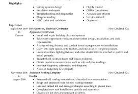 Chef Job Description Resume by Electrician Job Description Resume Recentresumes Com