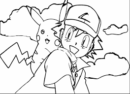 terrific pokemon ash and pikachu coloring pages with pikachu