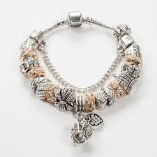 bead bracelet european images Aoduola new design white crystal beads crown charm bracelet silver jpg