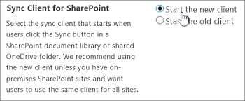 enable users to sync sharepoint files with the new onedrive sync