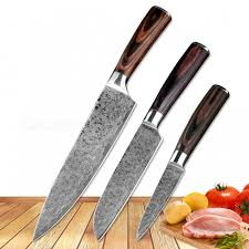 japanese damascus kitchen knives 3pcs kitchen knives set japanese damascus steel pattern chef knife