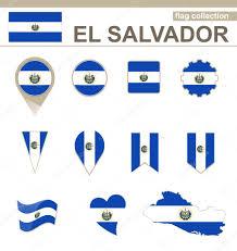 Flag El Salvador El Salvador Flag Collection U2014 Stock Vector Boldg 61552321