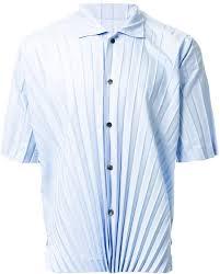 issey miyake light blue light blue pleated short sleeve shirt from homme plissé issey miyake