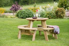 Round Redwood Picnic Table by Round Garden Bench Table Starrkingschool