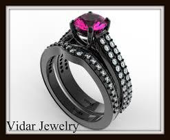 Pink Diamond Wedding Ring by Diamond U0026 Pink Sapphire Engagement Ring Wedding Set Vidar