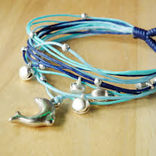 string cord bracelet images Dolphin in blue tone string bangle waxed cord bracelet on luulla JPG