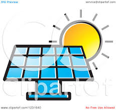 solar panels clipart clipart of a sun over a blue solar panel icon royalty free