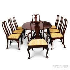 queen anne dining room furniture georgian style mahogany double pedestal dining table and a set of