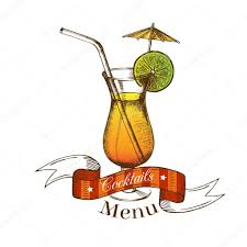 cocktail sketch cocktail with lime straw umbrella and ribbon sticker isolated
