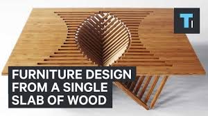 wood farnichar furniture design from single slab of youtube
