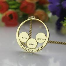 Children S Name Necklace Engraved Couples Pendant With Kids Name Disc Necklace Personalized