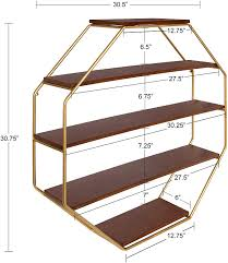 what of wood is best for shelves kate and laurel lintz large octagon shaped floating wood book shelves for decorative wall storage gold metal frame with walnut brown finished shelves