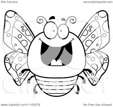 cartoon clipart of a black and white chubby grinning butterfly