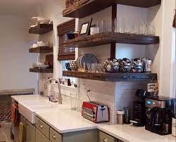 floating kitchen shelves with lights rustic kitchen shelves with corner l shaped design and recl on