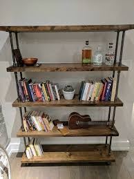 Reclaimed Wood And Metal Bookcase Industrial Pipe And Wood Bookcase Rustic Wood Metal