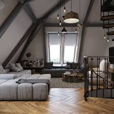 attic loft dark color for small apartment interior design with exposed brick
