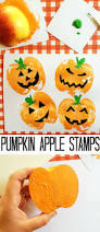 pumpkin apple stamps autumn apples and child