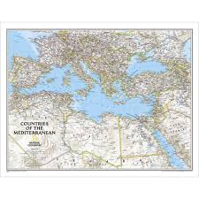 Countries Of The World Map by Countries Of The Mediterranean Classic Wall Map Laminated