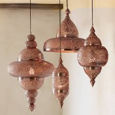 Hanging Light Fixtures by Moroccan Hanging Lamp Collection Bright Copper Vivaterra