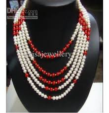 colored pearl necklace images New arriver pearl jewelry 5rows white color natural pearl red jpg