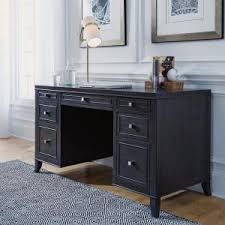 Edge Water Executive Desk Home Decorators Collection Bufford Rubbed Black Desk With Storage