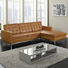 Accent Chair With Brown Leather Sofa Light Brown Leather Sofa With Silver Steel Base Placed On The F