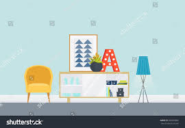 illustration modern living room sideboard chair stock vector