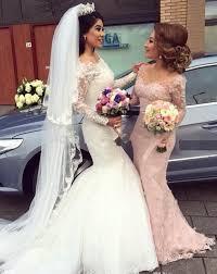 kleid fã r brautjungfer rosa brautjungfernkleider lang ärmel spitze meerjungfrau kleider
