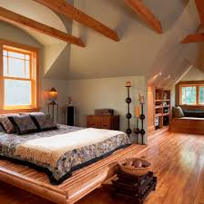 dormer bed with high ceilings bedroom eclectic and square