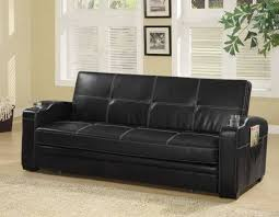 Black Faux Leather Sofa Black Faux Leather Sofa Bed W Storage Cup Holders By Coaster