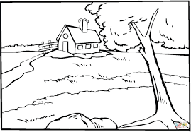 country house near the river coloring page free printable
