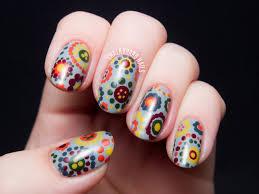 70 u0027s style polka dot floral print floral dot nail art and nail nail