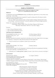 Occupational Therapy Resume Examples by Esthetician Resume Resume Example