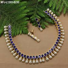 sapphire pearl necklace images Blue sapphire stones with pearls drops designer gold plated finish jpg