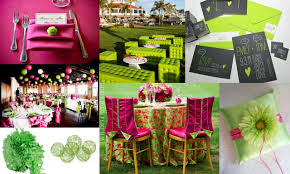 decorate table behind wedding arch lime green and fuchsia pink