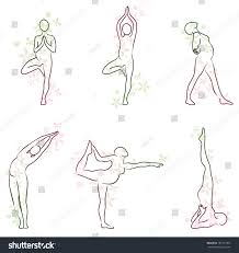 yoga pregnant women beautiful simple sketches stock vector