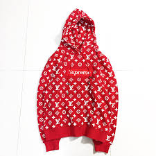 supreme x louis vuitton hooded sweatshirt red u2013 to glamour shop