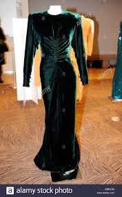 a long dinner dress of dark green velvet by victor edelstein u0027the