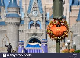 halloween theme and decorations view of cinderella castle disney