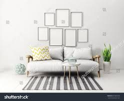modern scandinavian interior sofa living room stock illustration