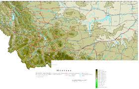 Map Of State by Montana Contour Map