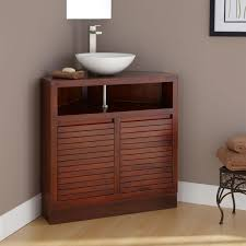simple design of the corner bathroom vanity made of solid wood