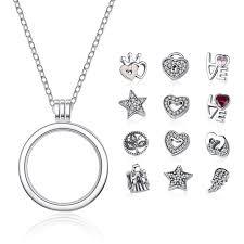 sterling silver necklace pendants images Bamoer genuine 925 sterling silver medium petite memories floating jpg