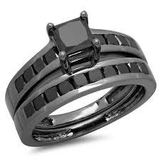 princess cut black engagement rings 2 35 carat ctw black rhodium plated sterling silver