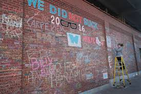 the wrigley field chalk wall is back bleed cubbie blue the 2016 wrigley field chalk wall photo by scott olson getty images