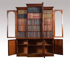 Narrow Mahogany Bookcase by Victorian Mahogany Three Door Breakfront Bookcase At 1stdibs