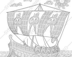 viking ship coloring page coloring page sunflower instant download zentangle