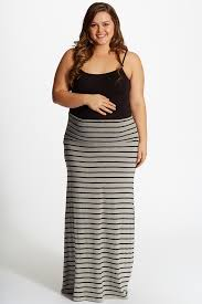 maxi skirt grey black striped plus size maxi skirt