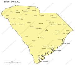 south carolina outline map with capitals major cities digital